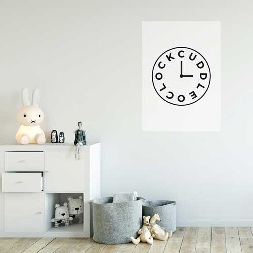 Buddy + Bear poster met klok cuddle o'clock
