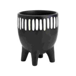 Bloempot of vaas met witte verticale streepjes