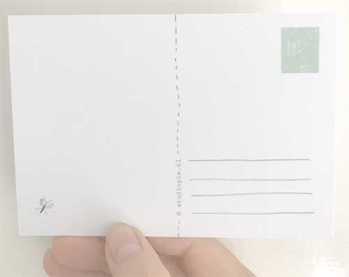 Achterkant Ansichtkaart - kaartje - met vlinder en tekst liefs | Studiopie